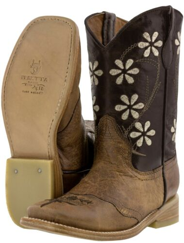 Girls Dark Brown Flower Embroidery Western Leather Cowgirl Boots Square Toe