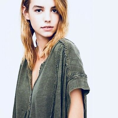 Free People Aster Henley Oversized Top Sz Small-S Green Retail $68 FP NWT