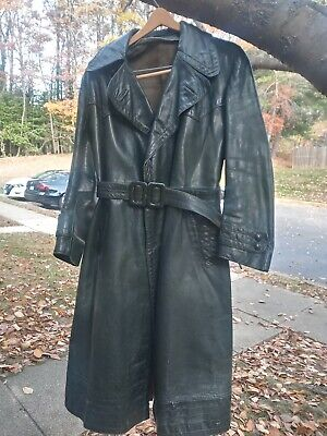 1940 S Heavy German Green Leather Coat, German Army Ww2 Trench Coat