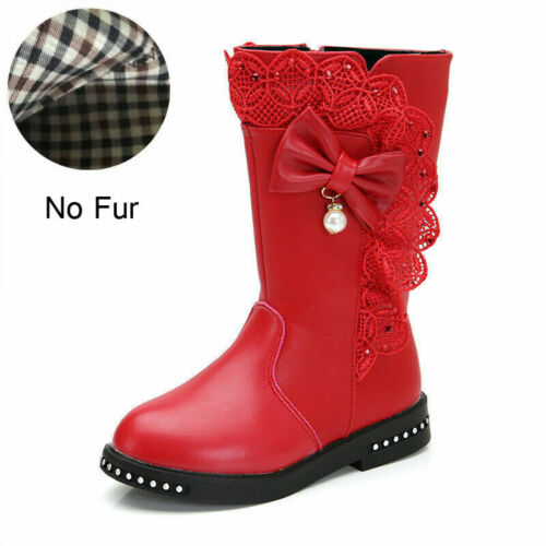 Kids Girl Diamante Lace Mid-Claf Ankle Boots Flat Zip Pearls Bowknot Party Shoes