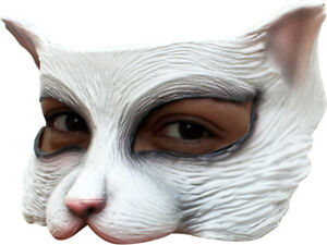 WHITE-KITTY-CAT-LATEX-HALF-FACE-MASK-ANIMAL-CHARACTER-HALLOWEEN-FUN
