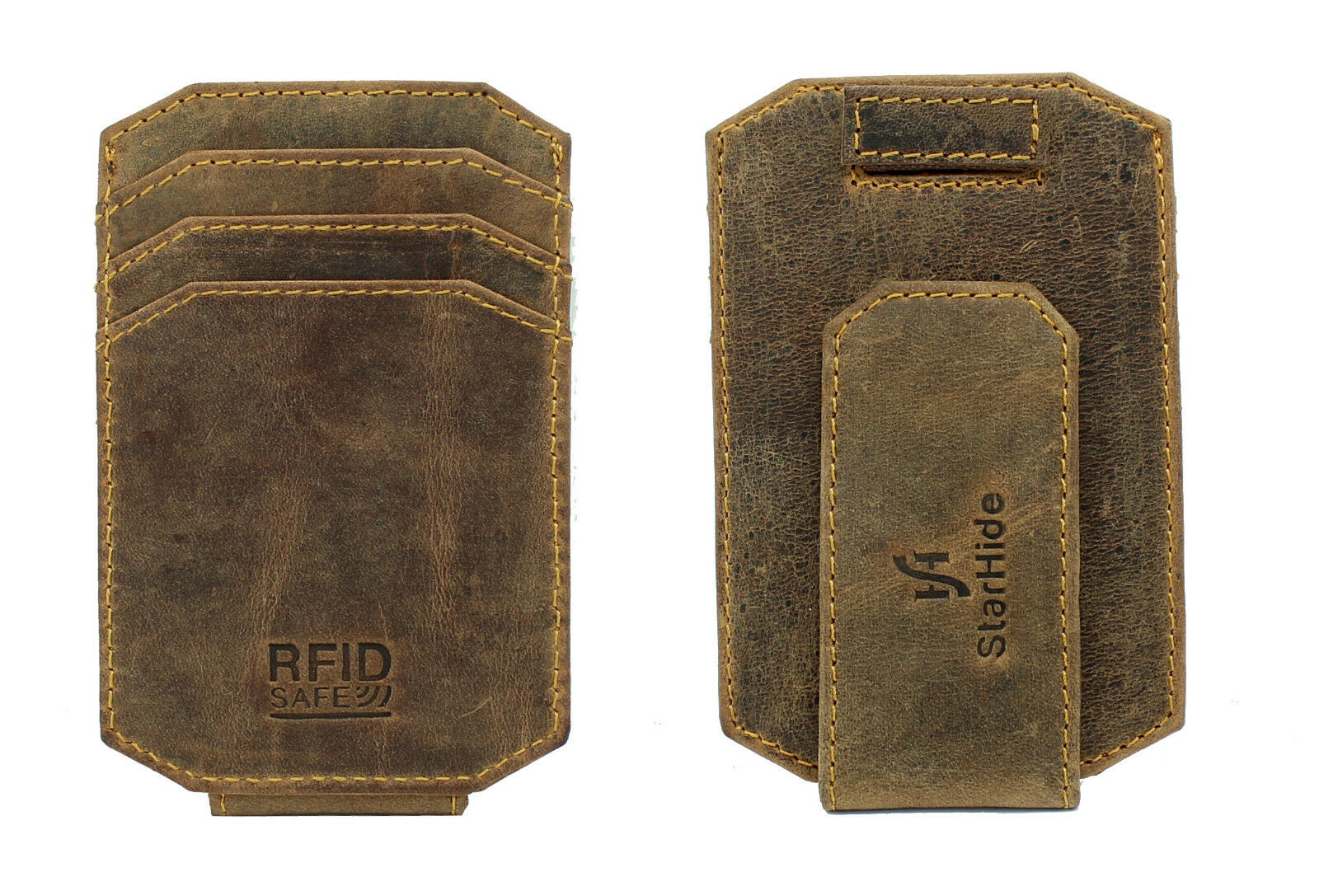 Mens RFID Thin Leather Money Clip  Cardholder Brown