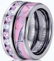 Ladies Pink Sapphire Cz & Pink Camo Titanium Wedding Engagement Band Ring Set