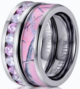 Ladies-Pink-Sapphire-Cz-amp-Pink-Camo-Titanium-Wedding-Engagement-Band-Ring-Set