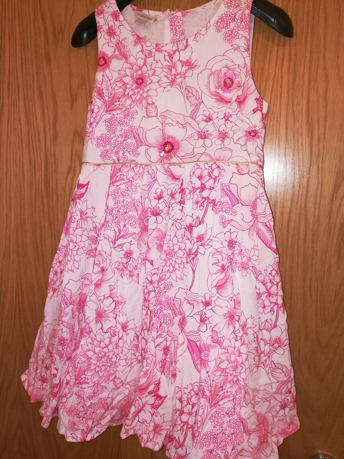 white dress with pink outline flowers