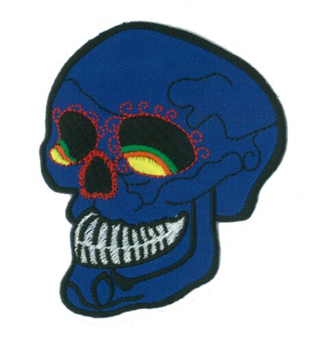 Patch écusson patche blue Skull tete mort thermocollant applique brodé