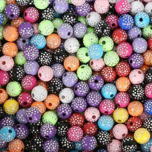 100pcs Coloré Acrylique Perles Rondes Fait Main Accessoires À faire soi-même Bracelet 8 mm