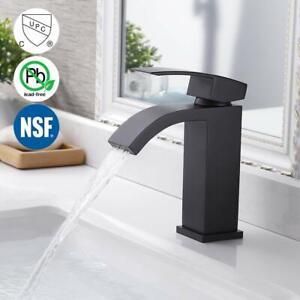 NSF-Lead-Free-Matte-Black-Single-Handle-Waterfall-Bathroom-Vanity-Sink-Faucet