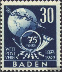 Franz-Zone-Baden-57-gestempelt-1949-Weltpostverein