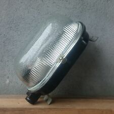 Vintage Industrial BULKHEAD BUNKER Lamp Oval Dome Glass Shade Light Fixture