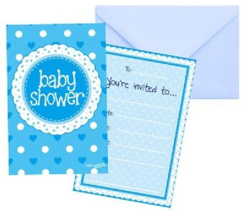8 x Blue Baby Shower Invitations /& Envelopes Boys Party Supplies Invites