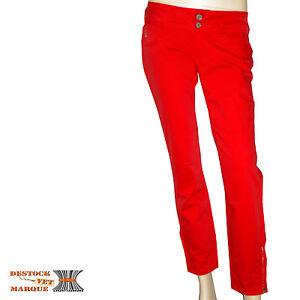9bf4d60f4a LE TEMPS DE CERISES Jeans slim pantacourt 7/8ème LEA rouge femme W ...
