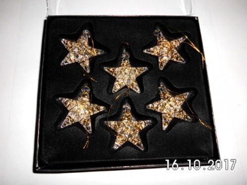 4x4cm Stern aus Glas mit Gold zum Aufhängen ca oder Silberdraht umwickelt