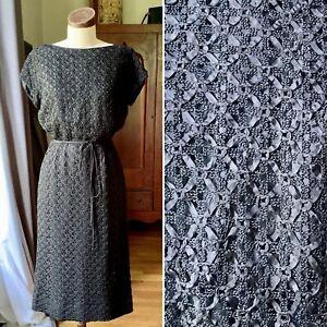 Vtg ASCOT ORIGINAL 40's 50s Wiggle Dress COUTURE Black Ribbon S/M