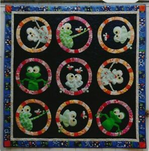 FrogFace-fun-applique-amp-pieced-quilt-PATTERN-Claire-Turpin