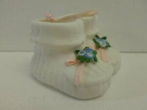 "Vintage Bisque Porcelain Baby Shoes, White w/Pink Ribbon & Blue Flowers, 2"", EUC"