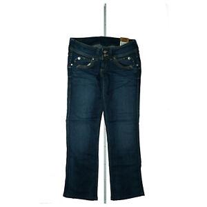 PEPE-JEANS-Perival-Damen-Straight-Leg-Stretch-Knackpo-28-29-W28-L29-blau-Neu-F34