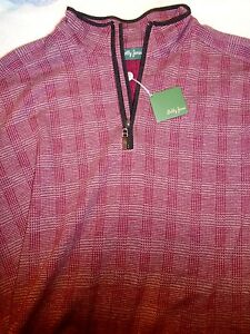 Bobby-Jones-1-2-zip-Burgundy-Amherst-Plaid-Pattern-Pullover-NWT-XL-145