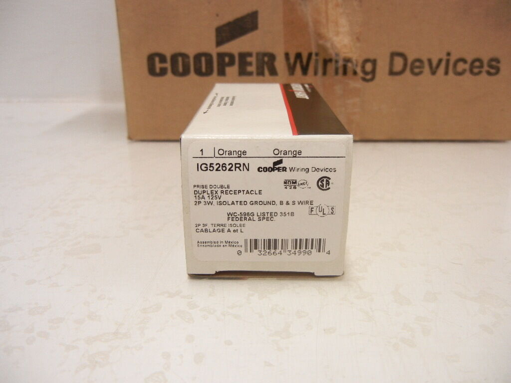 Cooper Orange Isolated Ground Receptacle Duplex Outlet 15a Bulk Wiring Double Norton Secured Powered By Verisign