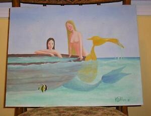 MERMAID NUDE SUNKEN ROW BOAT FISH NAUTICAL LISTED ARTIST FOLK ART OIL PAINTING