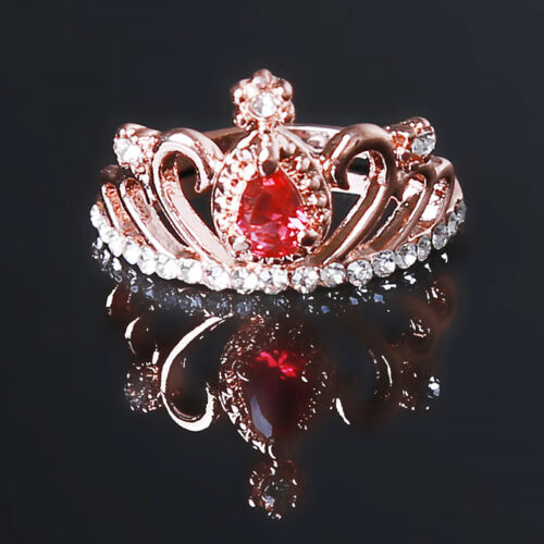 Diseño de corona de princesa Anillo Mujer Cristal Estrás Joyería Anillo de boda 6A