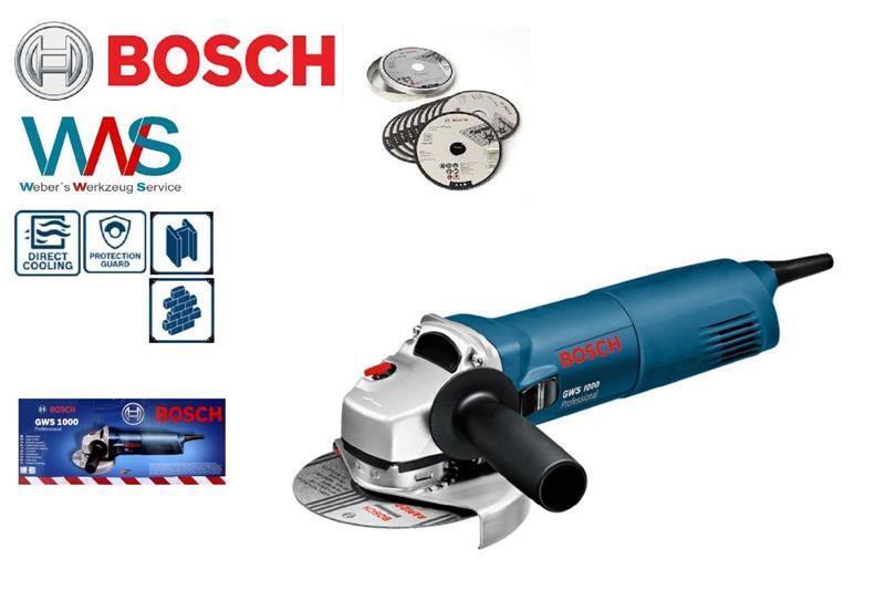 BOSCH GWS 1000 Winkelschleifer 1400W + 10 Scheiben Neu und OVP