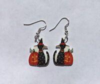 Cat Pumpkin Earrings Black Kitten Charms