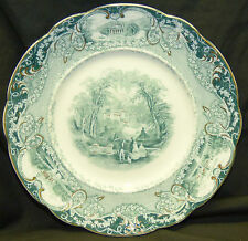 """Old J & G Meakin Virginia 8.75"""" Porcelain Luncheon Lunch Dinner Plate Teal Green"""