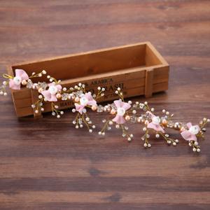 Women-Crystal-White-Rose-Flower-Pink-Bowknot-Wedding-Bridal-Hair-Band-Headband