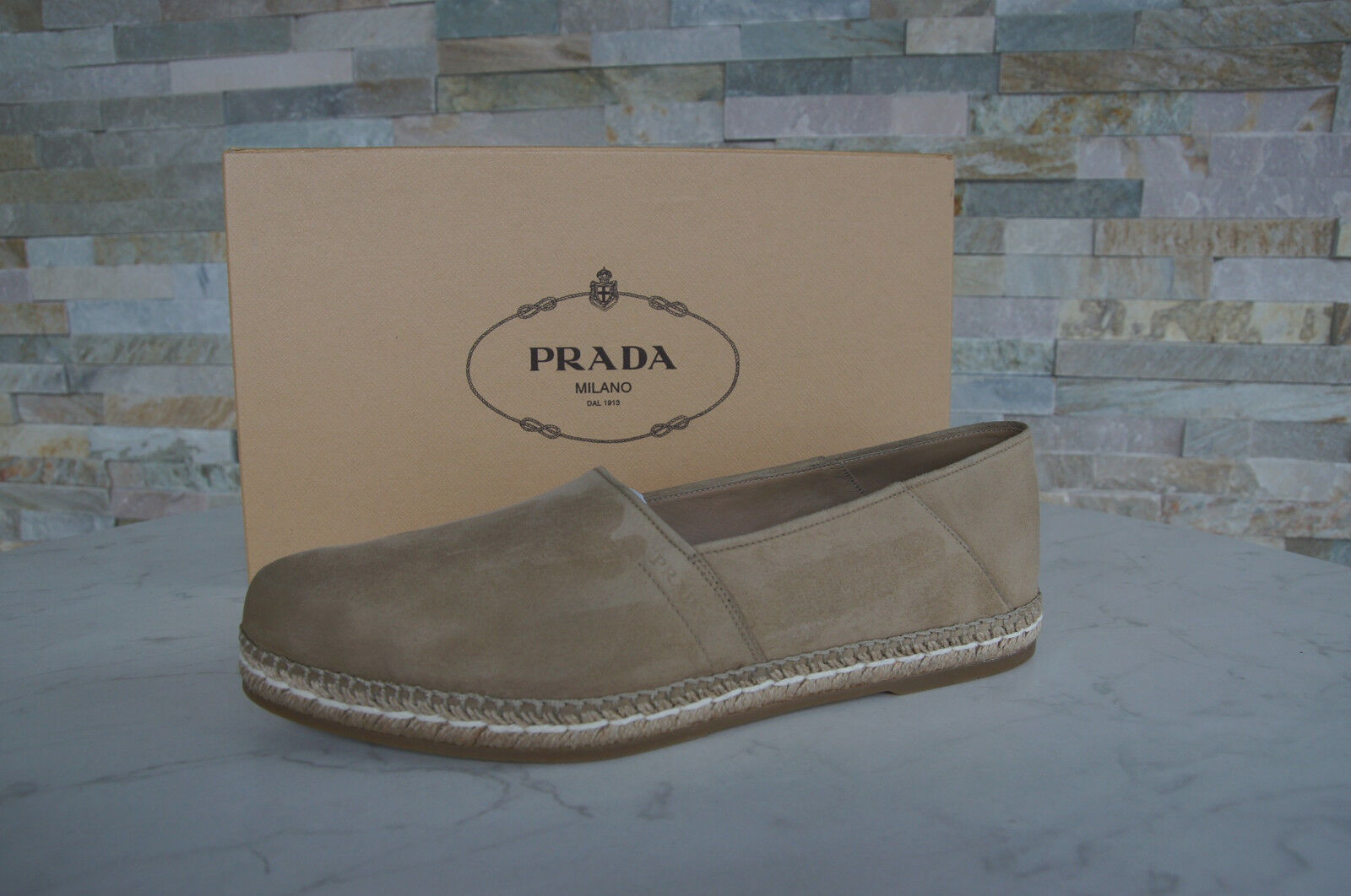 PRADA Gr 44  10 Slipper Loafers Mokassins Halbschuhe Schuhe beige NEU UVP 460