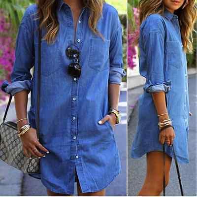 Vintage Ladies Denim Shirt Blue Long Sleeve Women Pocket Retro Mini Shirt Dress