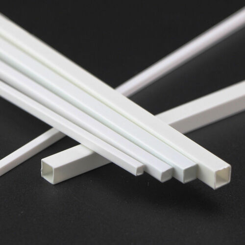 ABS Plastic Square Tube White Hollow Bar DIY Model 3x3x250mm to 10x10x250mm