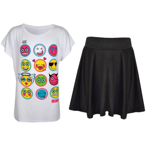 Kids Girls Emoji Emotions T Shirt Top /& Fashion Skater Skirt Set Age 7-13 Years