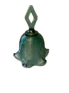 Fenton-Threaded-Diamond-Optic-Bell-Spruce-Green-Carnival-Glass-QVC-Glass
