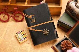 Vintage Black leather Journal Notebook Voyage travel diary retro pocket bound