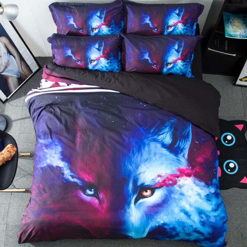 3D Cartoon Fox 806 Bed Pillowcases Quilt Duvet Cover Set Single Queen UK Kyra