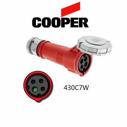 IEC 309 430C7W Connector 480V 30A 3P//4W Red Cooper # AH430C7W
