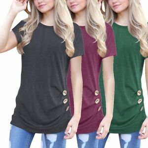 c66eff9fdb6 Women Short Sleeve Loose Button Trim Blouse Solid color Round Neck ...