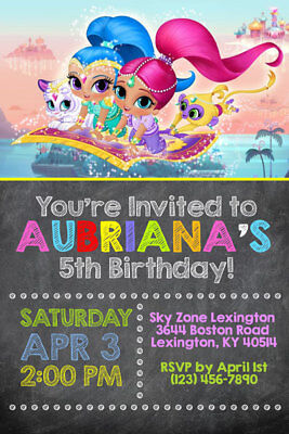 Shipped or Printable Birthday Party Shimmer and Shine Invitations