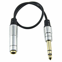 """Gold 6.35mm Female to 6.35mm (1/4"""") Male Headphone Adapter Stereo Audio Cable"""