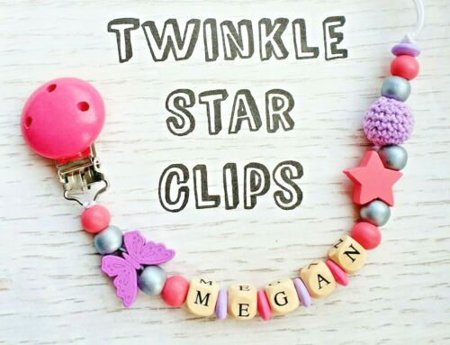 Personalised Wooden Dummy Chain Clip Pink Purple Grey Crochet Butterfly Star