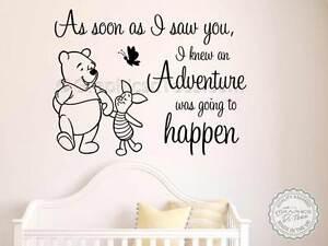 Nursery Wall Sticker Quote Winnie The Pooh Piglet Adventure