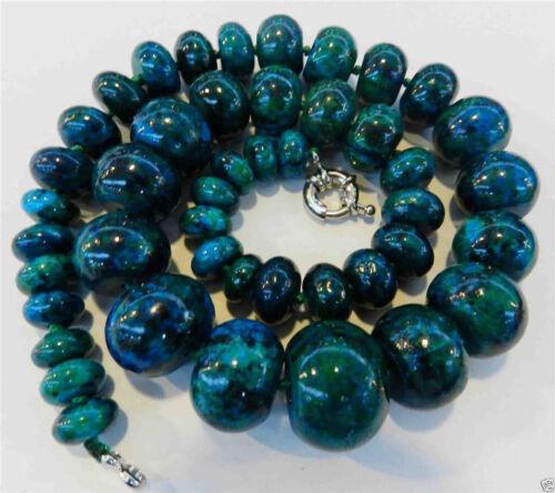 10-20mm Azurite Gemstone Phoenix Stone Roundel Beads Necklace 18 Charming!