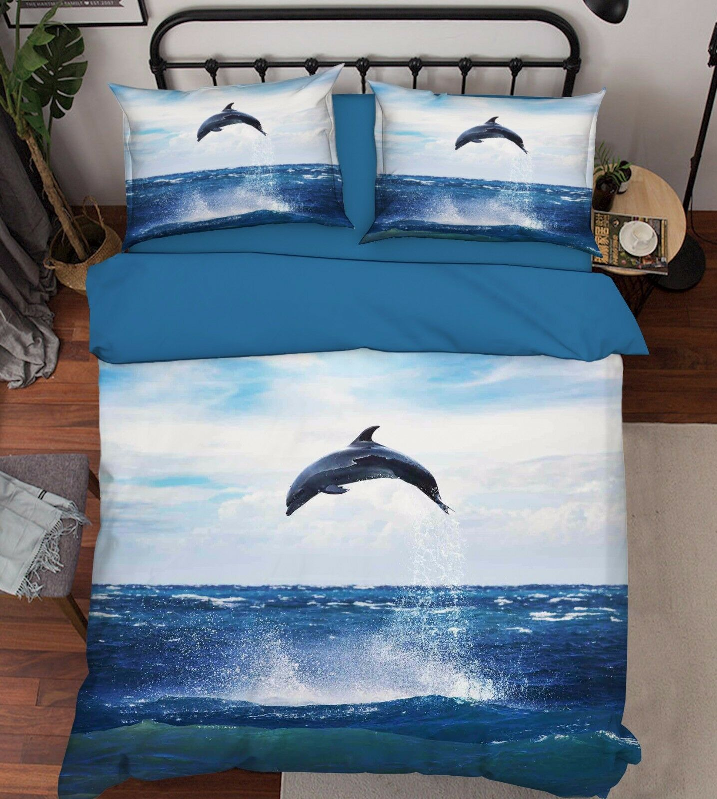 3D Dolphin Sea Painting 52 Bed Pillowcases Quilt Duvet Cover Set Single Queen CA
