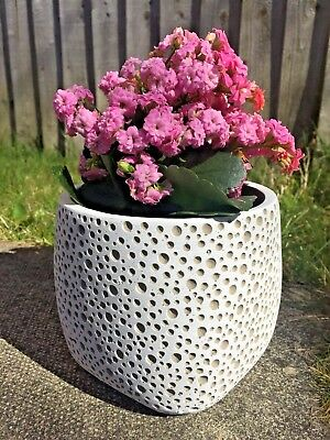 PURPLE CERAMIC FLOWER PLANT POT Planter Cover Indoor