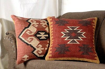 Hand Woven Jute Kilim Cushion Cover Indian Vintage Pillows 18X18 Rug Boho 1124