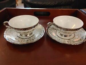 Schirnding-Bavaria-Quality-Porcelain-2-Silver-Teacups-amp-Saucers-Vintage