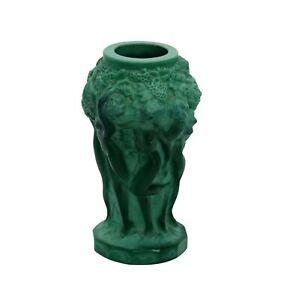 Art Deco Schlevogt Gablonz Malachit Glas Vase Mädchen Akt