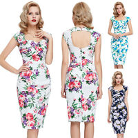 Womens Retro 50s 60s Swing Pin up Pencil Dress Vintage Style Bodycon Dress