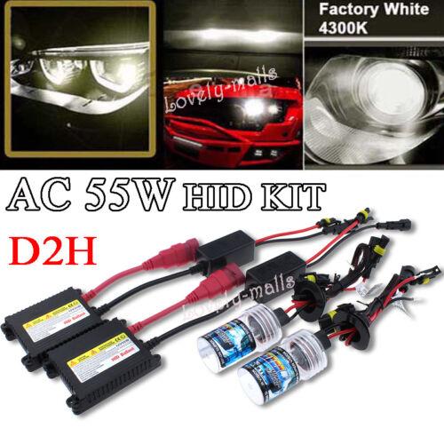 2pcs 4300K Warm White AC 55W D2H HID KIT Xenon Headlight Replacement Light Bulbs